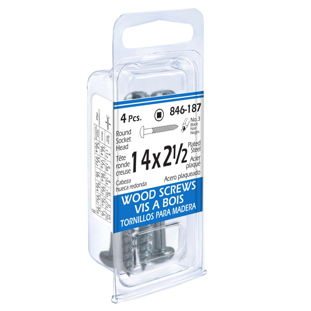 14x2-1/2 Rd Soc Wd Screws 9Pc