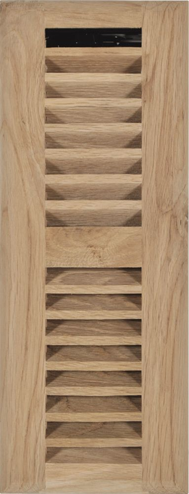3 Inch x 10 inch Unfinished Oak Louvered Floor Register