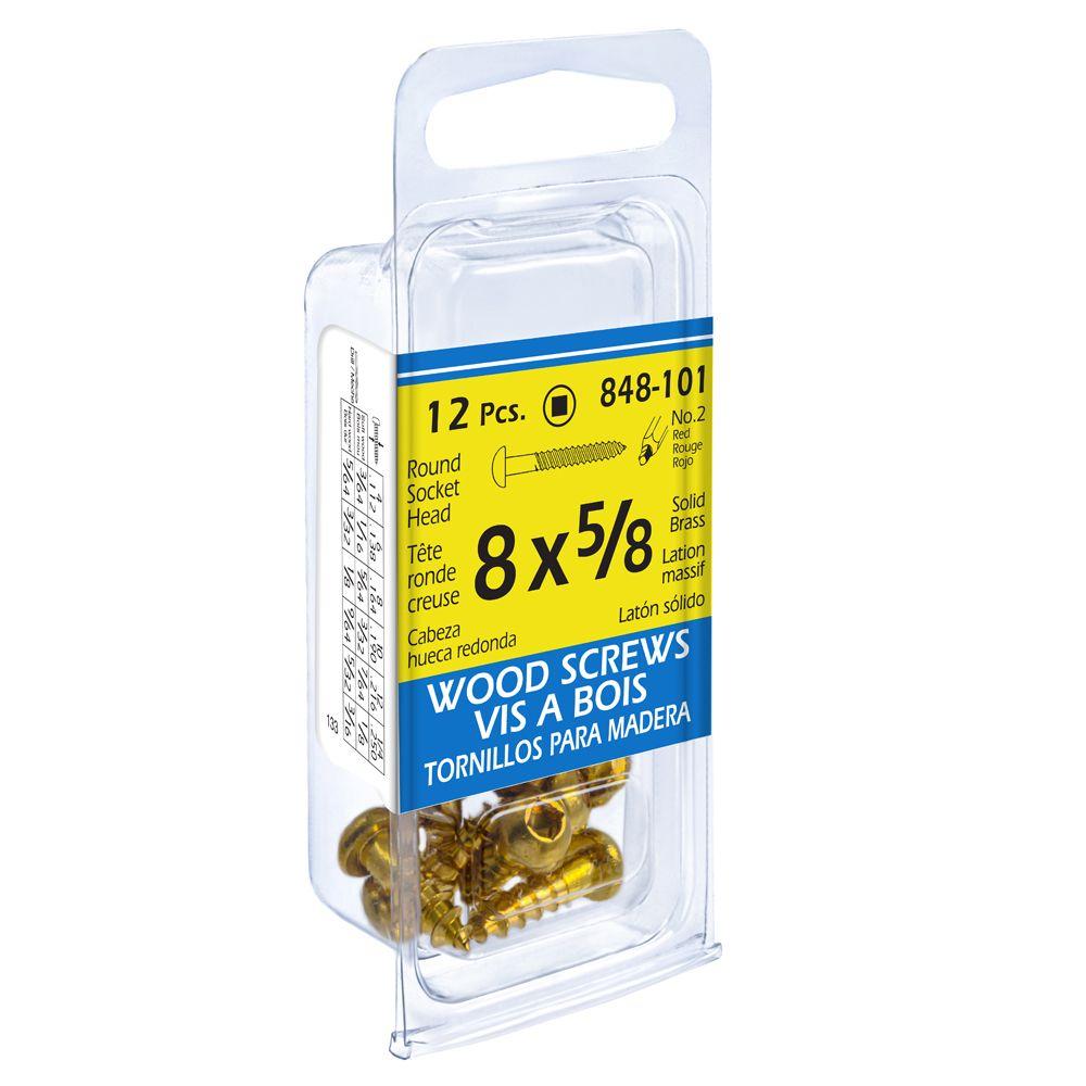 Paco 8X5/8 Rd Soc Brass Wd Sc 12Pcs