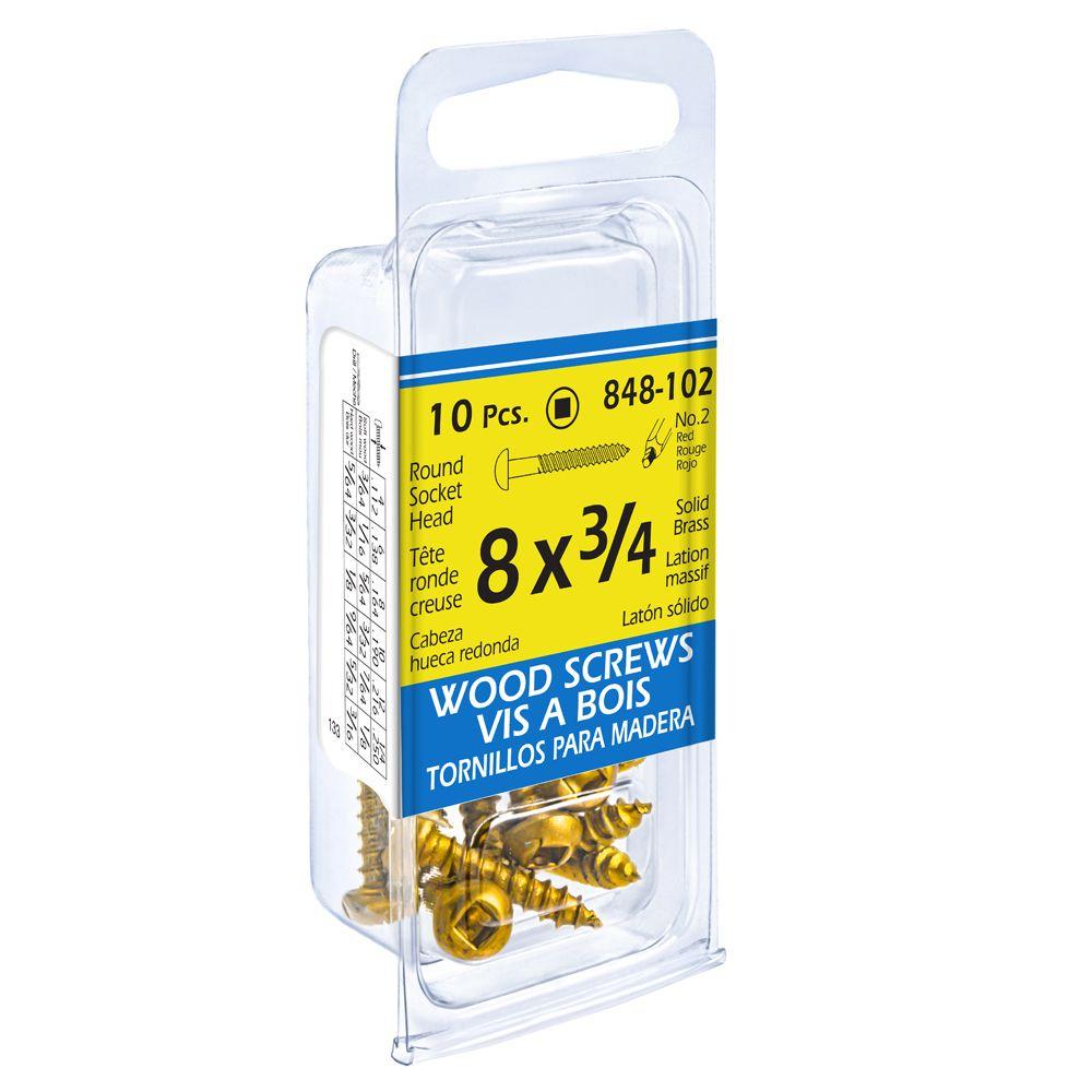 Paco 8X3/4 Rd Soc Brass Wd Sc 10Pcs