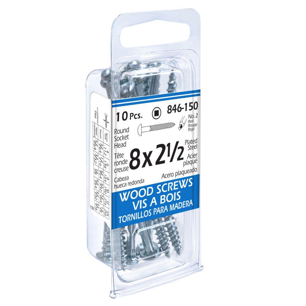 8x2-1/2 Rd Soc Wood Screw 10Pc