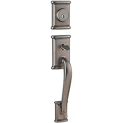 Weiser Ashfield Rustic Pewter Handle Set with Interior Lever