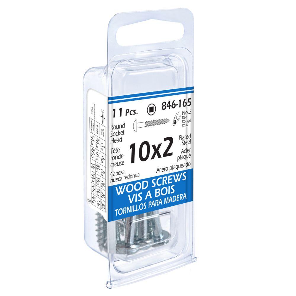 10x2 Rd Soc Wd Screw 11Pc