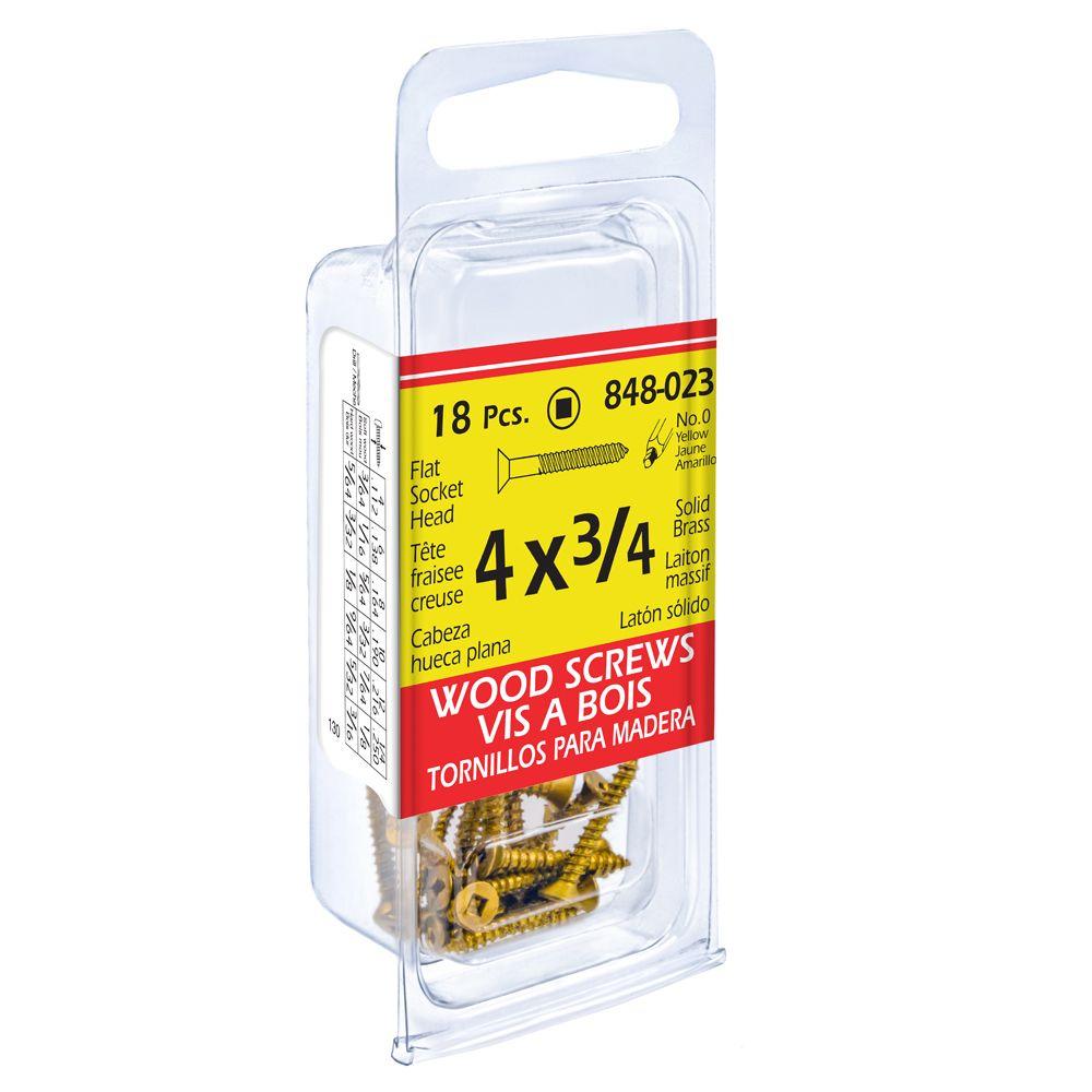 4X3/4 Flat Soc Brass Wd Sc 18 Pcs