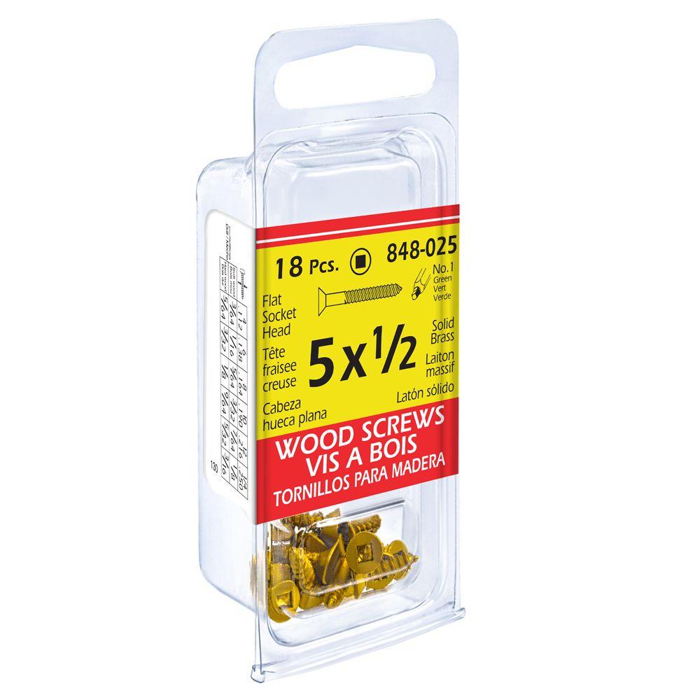 Paco 5X1/2 Flat Soc Brass Wd Sc 18Pc