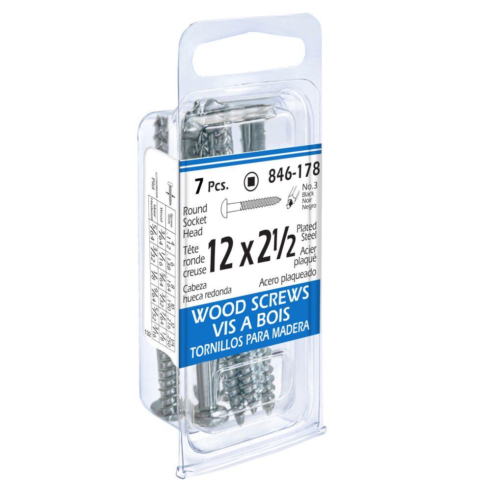 12x2-1/2 Rd Soc Wd Screw 7Pc