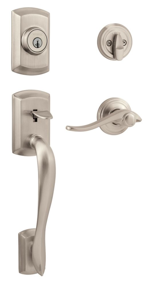 Avalon handle set with avalon interior lever - satin nickel finish