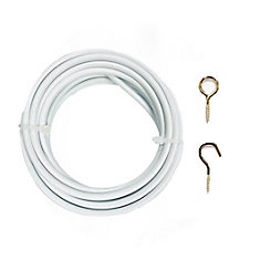 Vinyl Covered Curtain Wire with Screws in White
