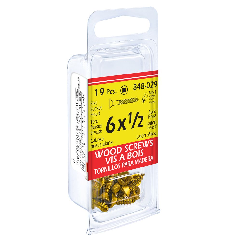 Paco 6X1/2 Flat Soc Brass Wd Sc 19Pc