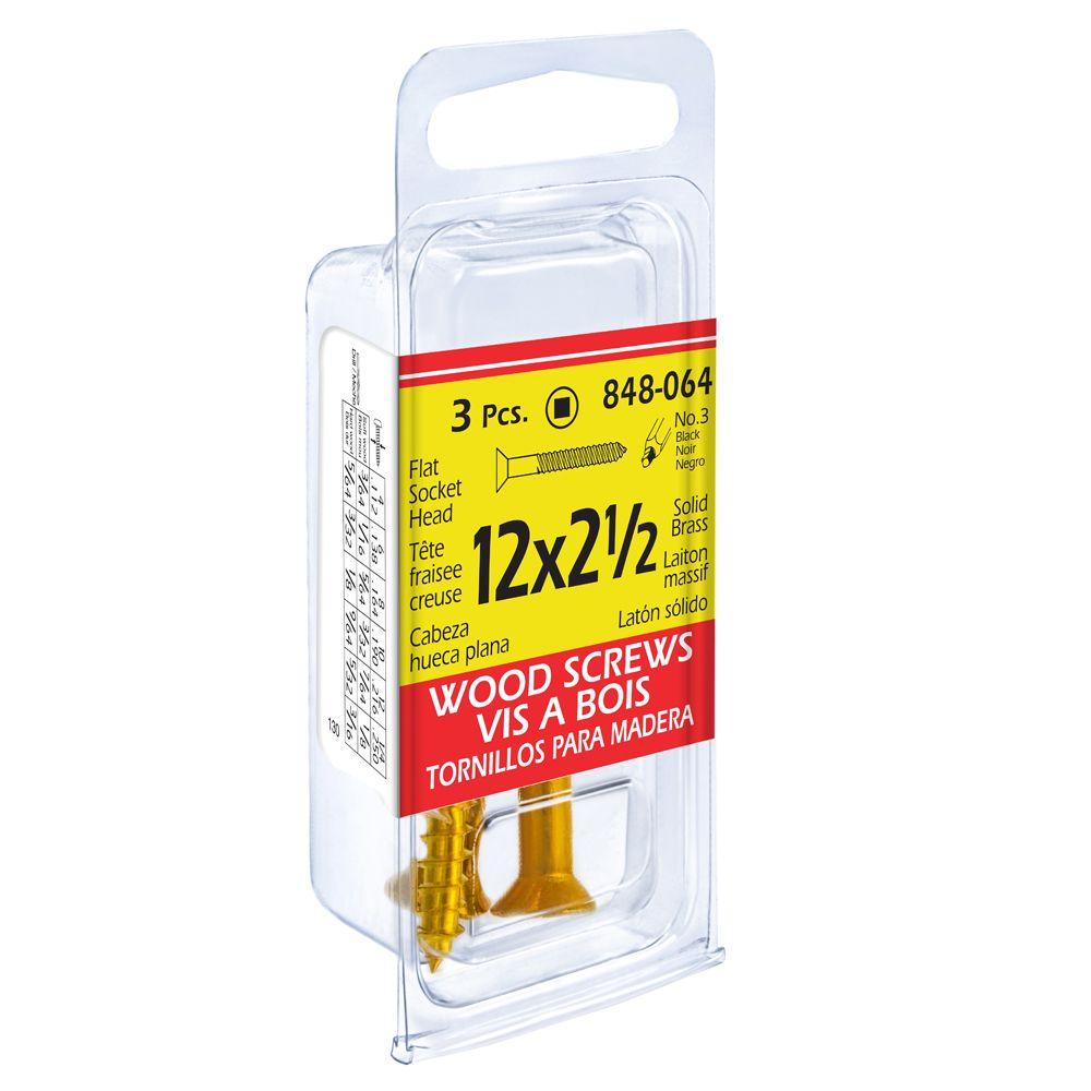 12X2 1/2 Flat Soc Brass Wd Sc 3Pcs