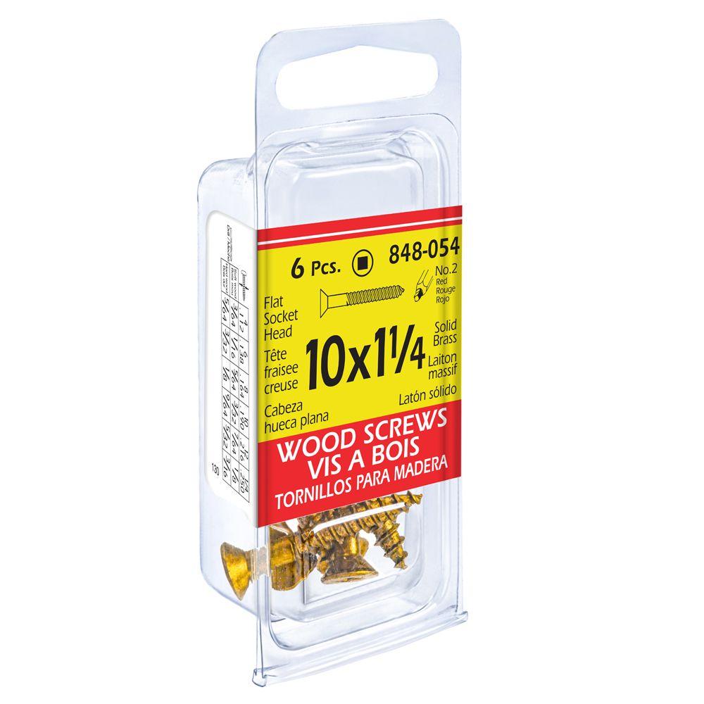 10X1-1/4 Flat Soc Brass Wd 6Pc Screw