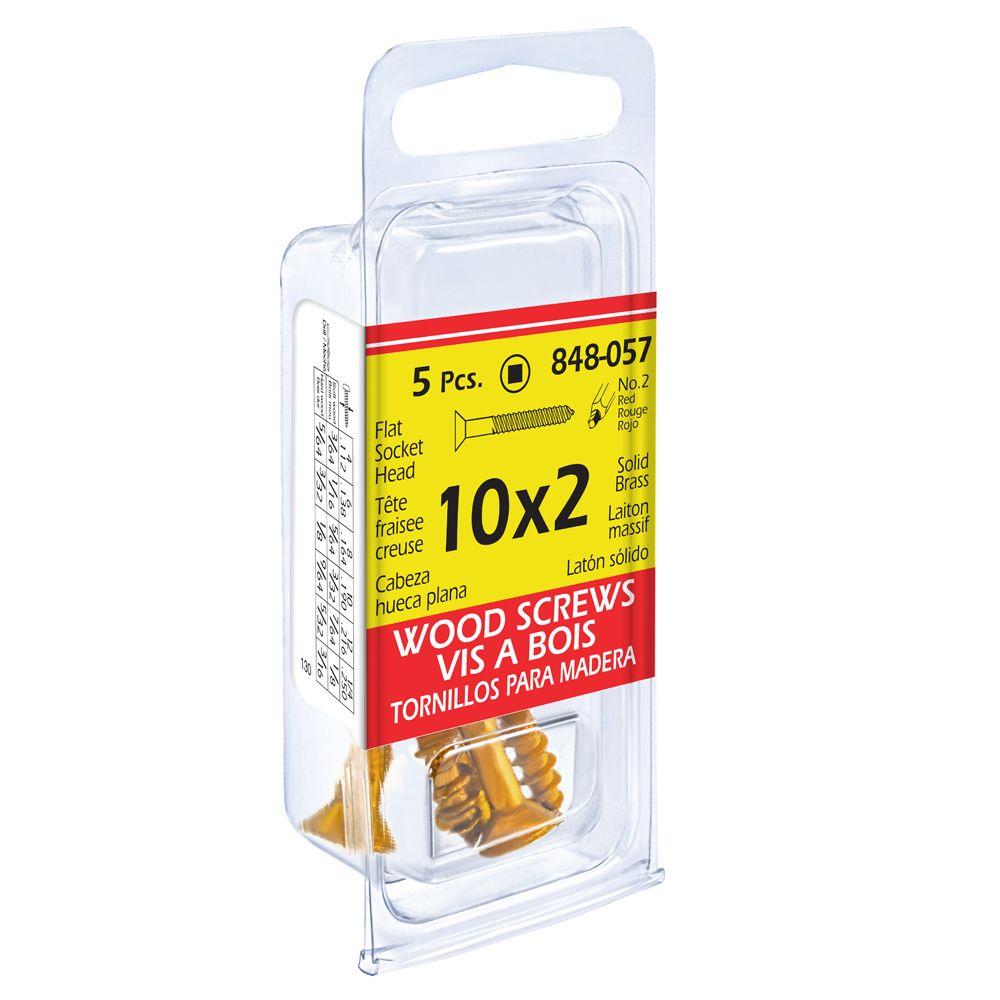 10X2 Flat Soc Brass Wd 5Pc Screw