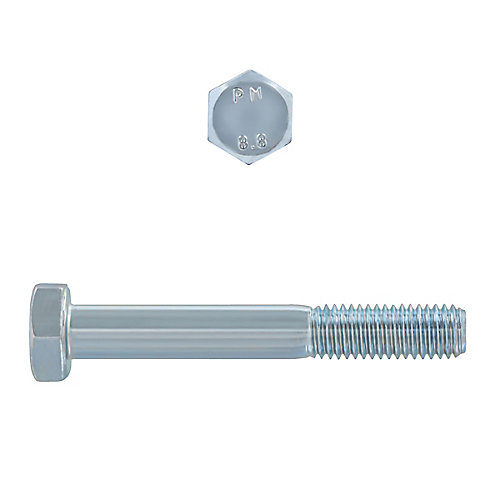 M10-1.50 x 70mm Class 8.8 Metric Hex Cap Screw - DIN 931 - Zinc Plated