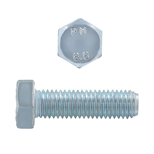 M12-1.75 x 40mm Class 8.8 Metric Hex Cap Screw - DIN 933 - Zinc Plated