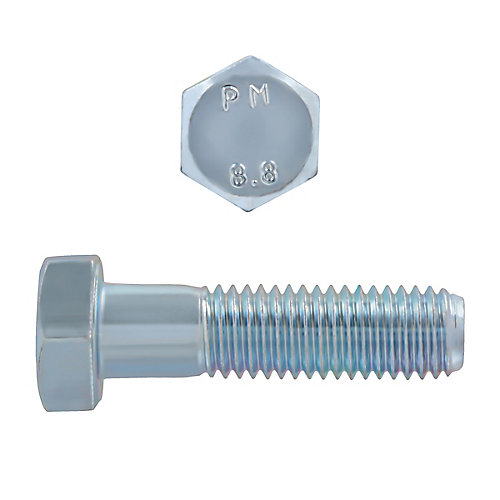 M12-1.75 x 45mm Class 8.8 Metric Hex Cap Screw - DIN 931 - Zinc Plated