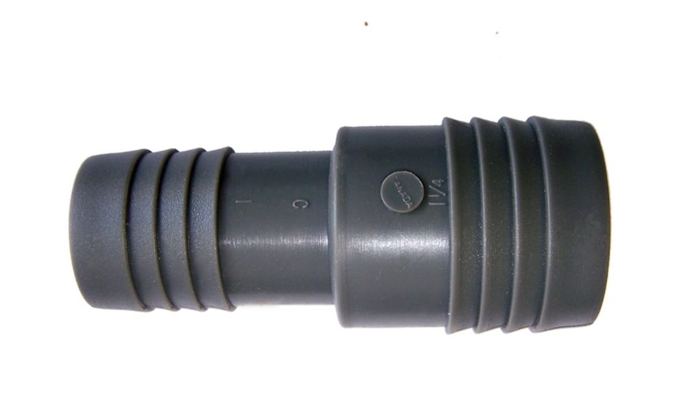 Pro-Connect Poly Reducing Coupling - 1 1/4 Inch Insert X 1 Inch Reducing Insert