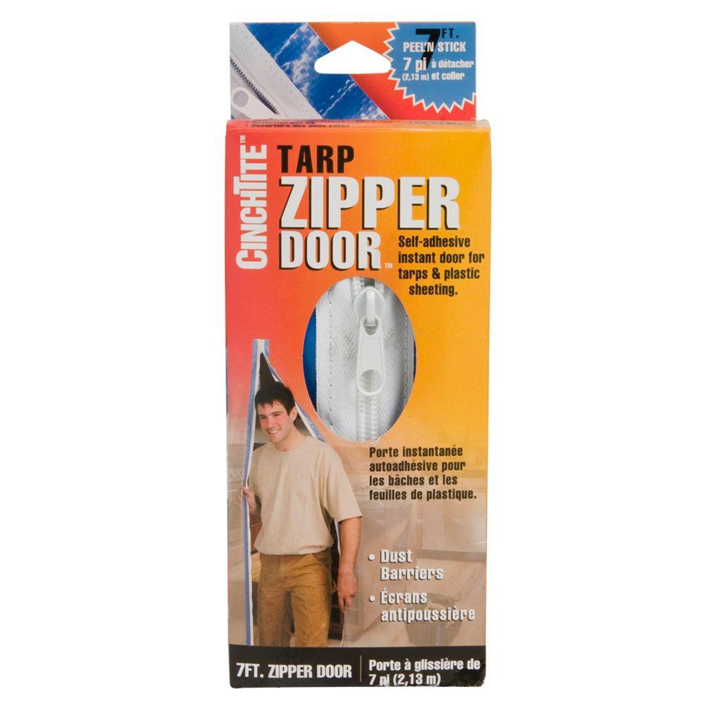 Homax Homax CinchTite 7-Feet Peel feet N Stick Tarp Zipper Door