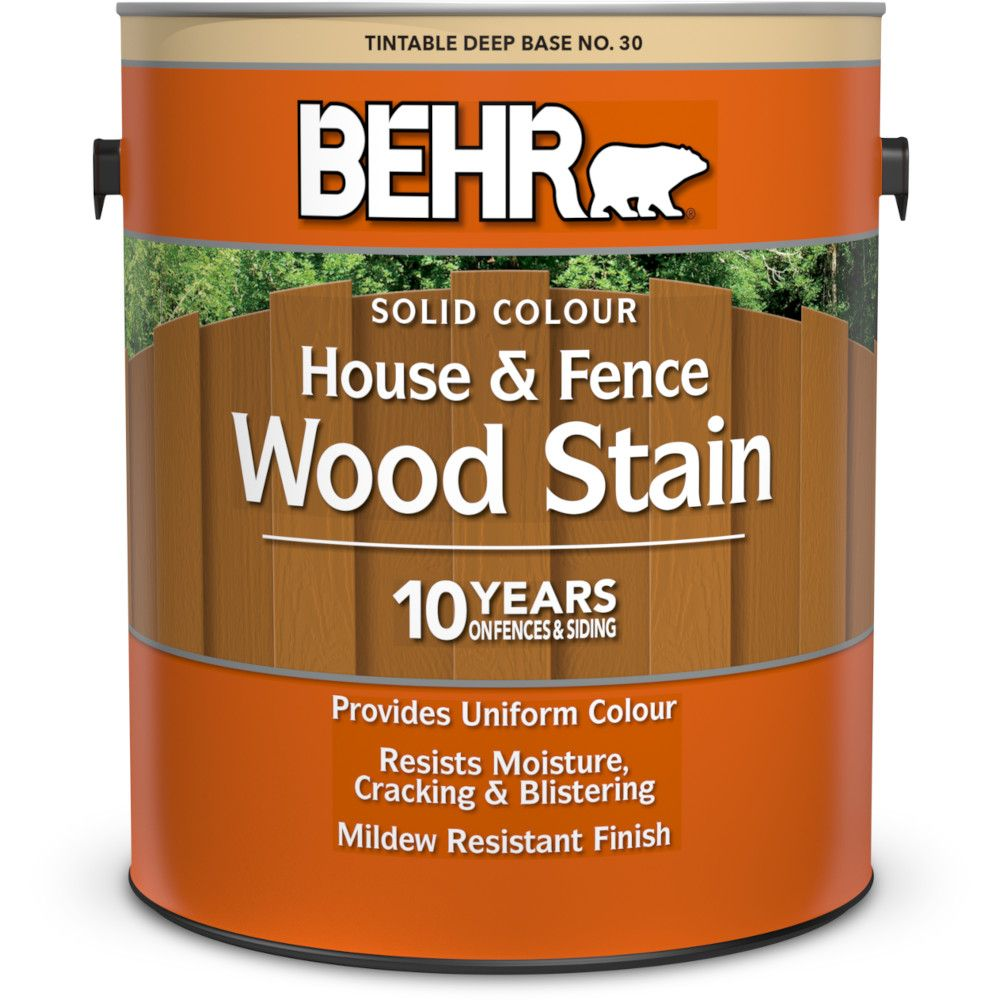Behr Deep Base No. 30 Solid Colour House & Fence Wood Stain, 3.43 L