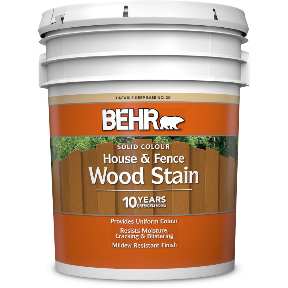 BEHR Solid Colour House & Fence Wood Stain - Deep Base No. 30,  17.7 L