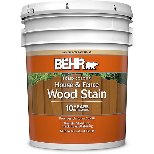 BEHR Solid Colour House & Fence Wood Stain - Deep Base No. 30, 18.9 L