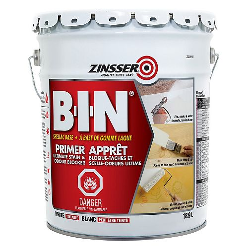 Zinsser B-I-N Shellac Base Primer for Ultimate Stain & Odour Blocker in Tintable White, 18.9L