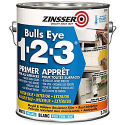 Zinsser Apprêt à base d'eau Bulls Eye 1-2-3, 3,78 L