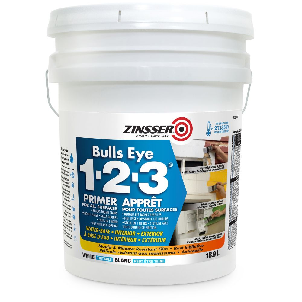 Zinsser Bulls Eye 1-2-3 Water Base Primer for All Surfaces in Tintable White, 18.9L