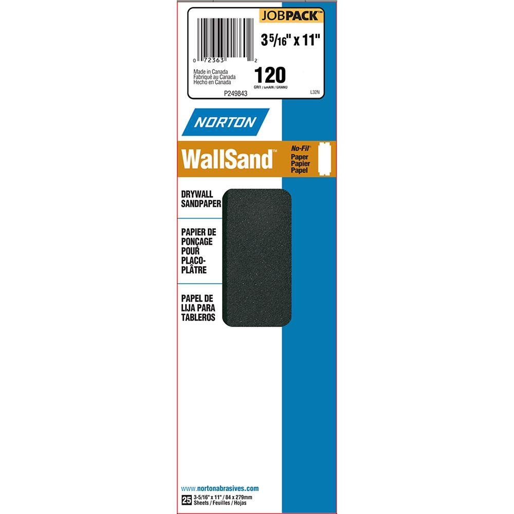 Norton Durite Drywall Sanding Paper 120 grit 3-5/16 inch X11 inch   25Pk