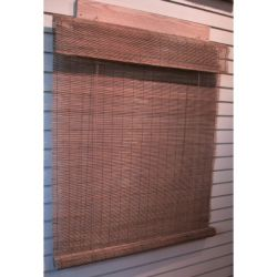 Bamboo Roll Up Blinds Matchstick Bamboo Roll - Up Blinds With 6 In.attached Valance 48 In. x 72 In. Col. Fruitwood