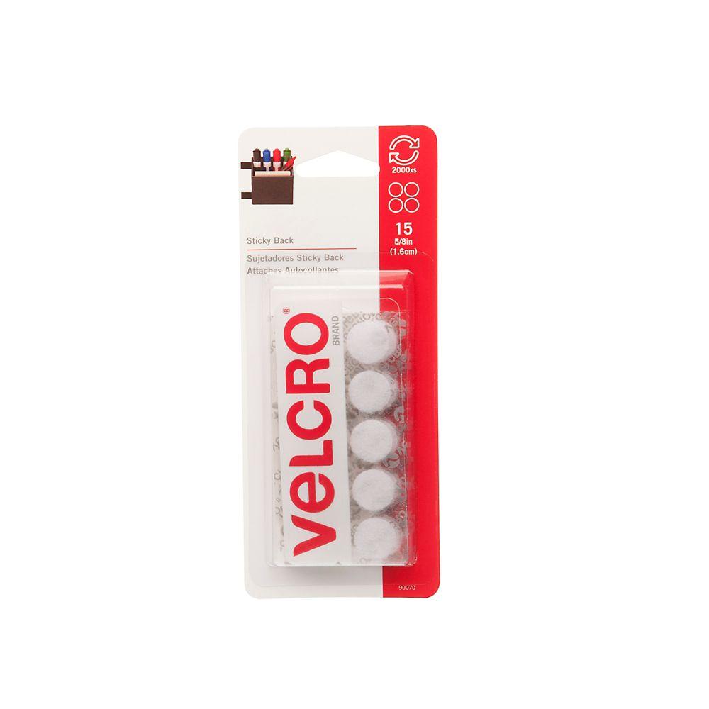 Pièces autocollantes Velcro de 5/8 po. Pqt de 15