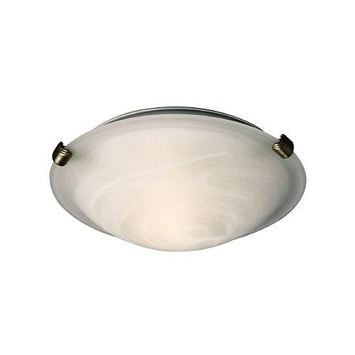 Plafonnier étain, 2ampoules, diffuseur en verre marbré