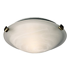 12-1/4 In. x 3-7/8 In. Ceiling Flushmount With 3 Pewter Clips & Marbled Glass