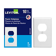 1 Gang Duplex Receptacle Plate, White - (10-Pack)