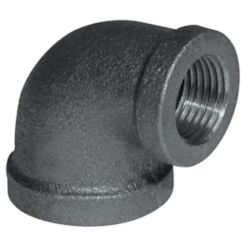 Aqua-Dynamic Fitting Black Iron 90 Degree Reducing Elbow 1/2 Inch x 3/8 Inch