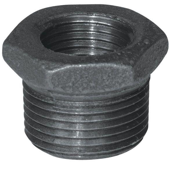 Aqua-Dynamic Fitting Black Iron Hex Bushing 1 Inch x 1/2 Inch