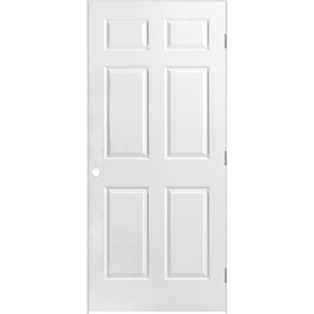 36-inch x 80-inch Lefthand 6-Panel Textured Prehung Interior Door