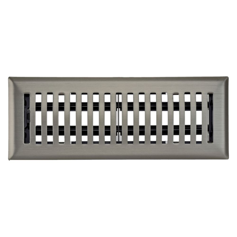 3 Inch x 10 inch Satin Nickel Louvered Dome Floor Register