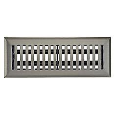 3 inch x 10 inch Dome Floor Register - Satin Nickel