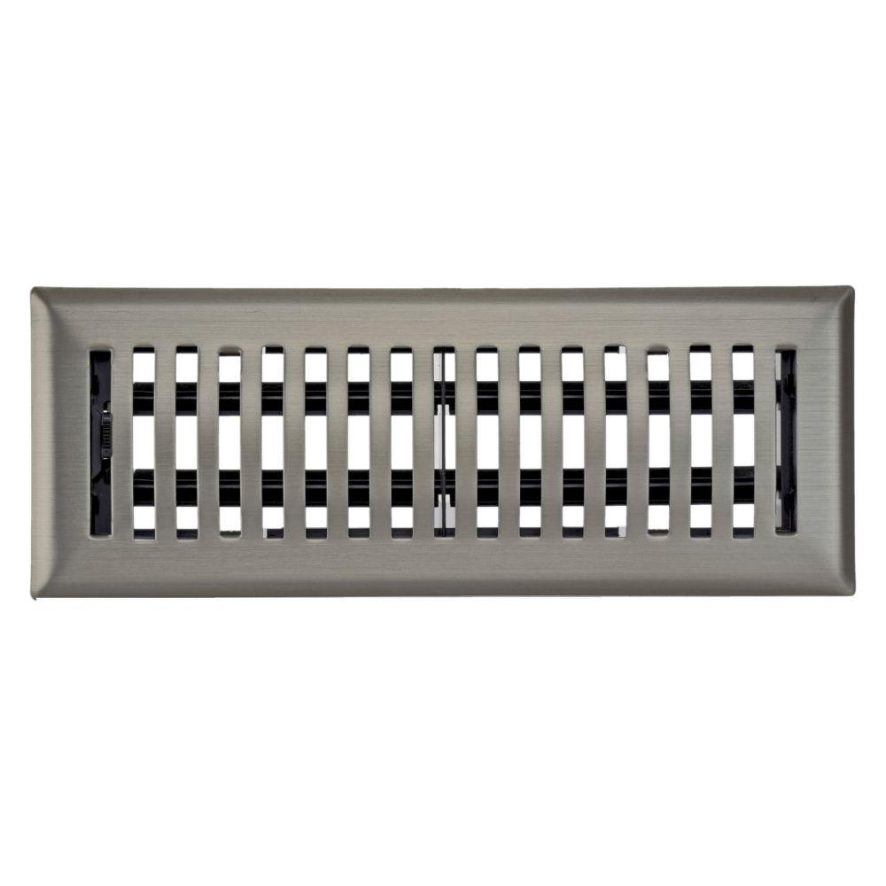 3po x 10po Registre de plancher dôme à-claire-voie nickel satiné