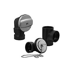OS&B ABS Bath Tub Drain (Waste And Overflow) Kit (Less Pipe, With Tee) - Chrome W/Tee Plug and Chain Stopper
