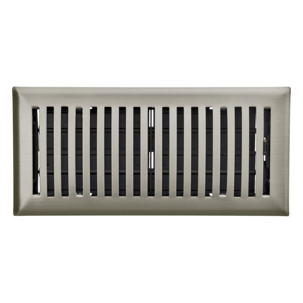 4 Inch x 10 inch Satin Nickel Louvered Dome Floor Register
