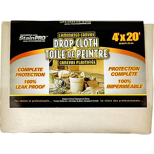 Laminated Canvas Drop Cloth - 4 Feet x 20 Feet