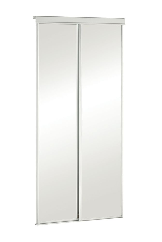 Veranda 36 Inch White Framed Mirrored Sliding Door The