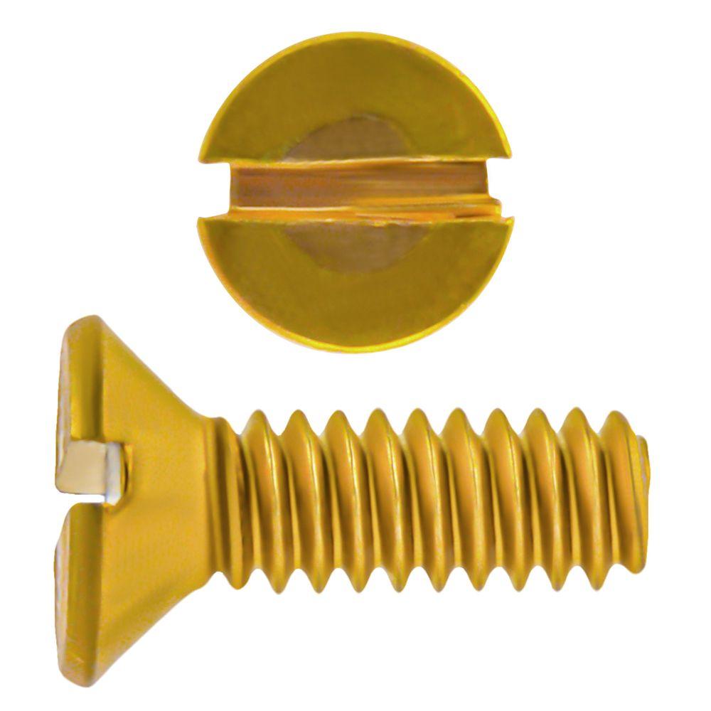 8-32x1/2 Fl Hd Slot Brass Mach Screw