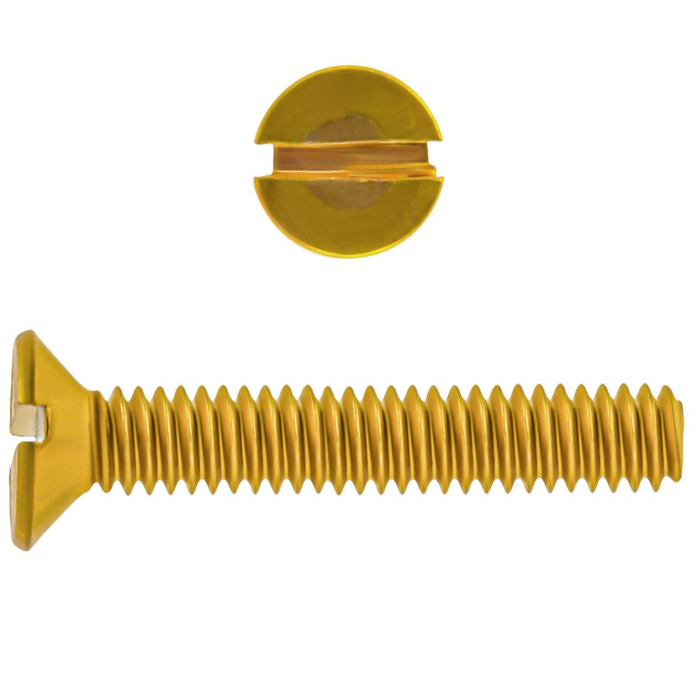 8-32x1 Fl Hd Slot Brass Mach Screw