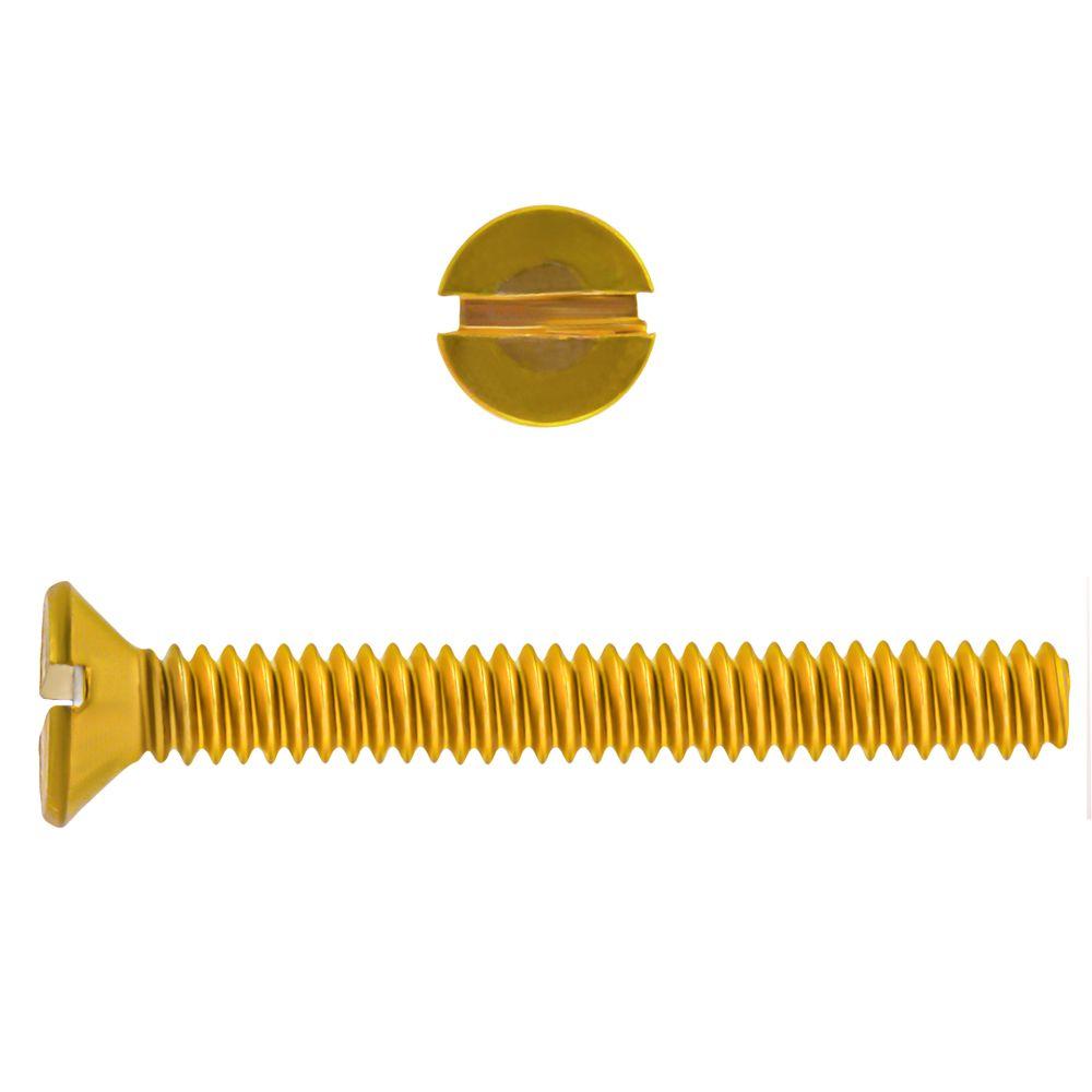 10-24x1 1/2Fl Hd Slot Brass Mach Screw