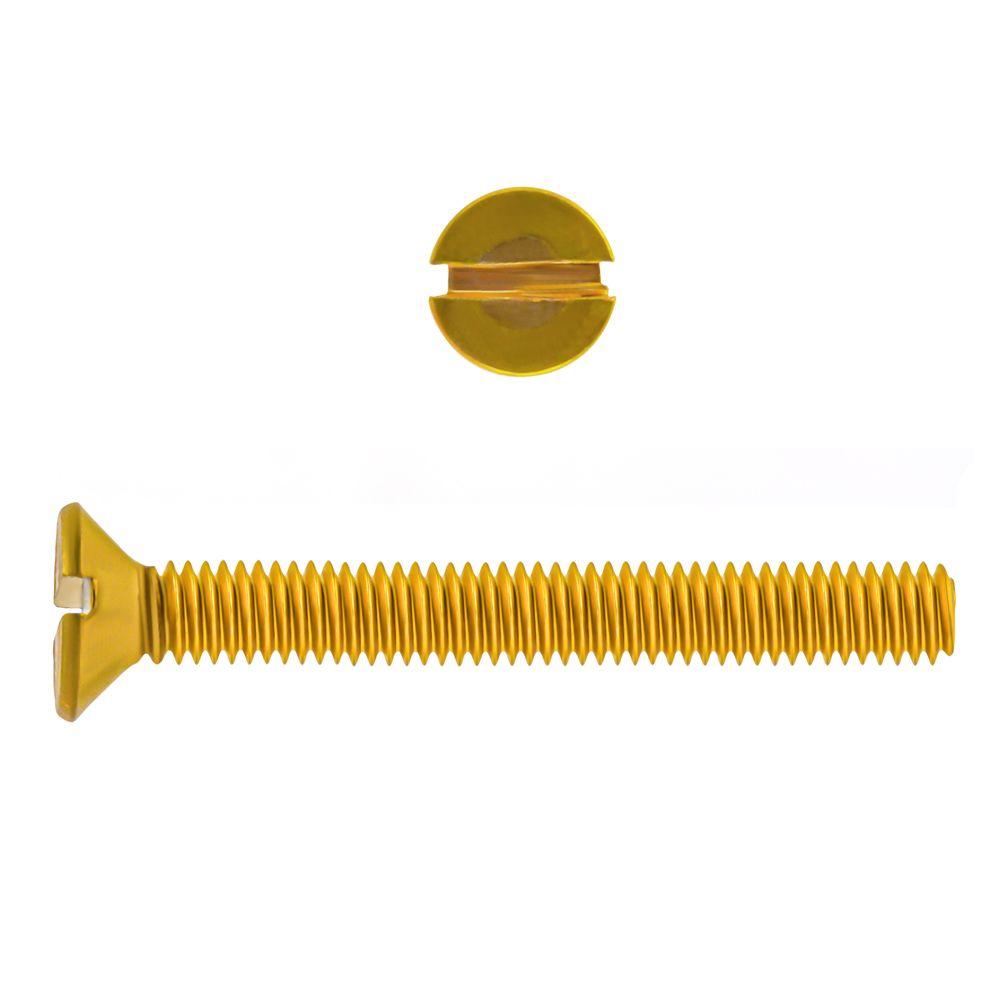 10-32x1 1/2 Fl Hd Slot Brass Mach Screw