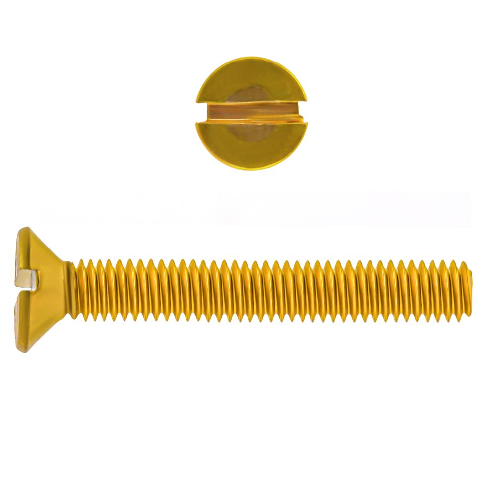 1/4-20x1 Fl Hd Slot Brass Mach Screw