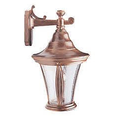 Orion Series, Antique Copper with Clear Bubble Globe, Downward Wall Mount