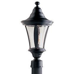 Snoc Orion, luminaire sur poteau,  globe de verre clairsemé, noir  (poteau non-inclus)